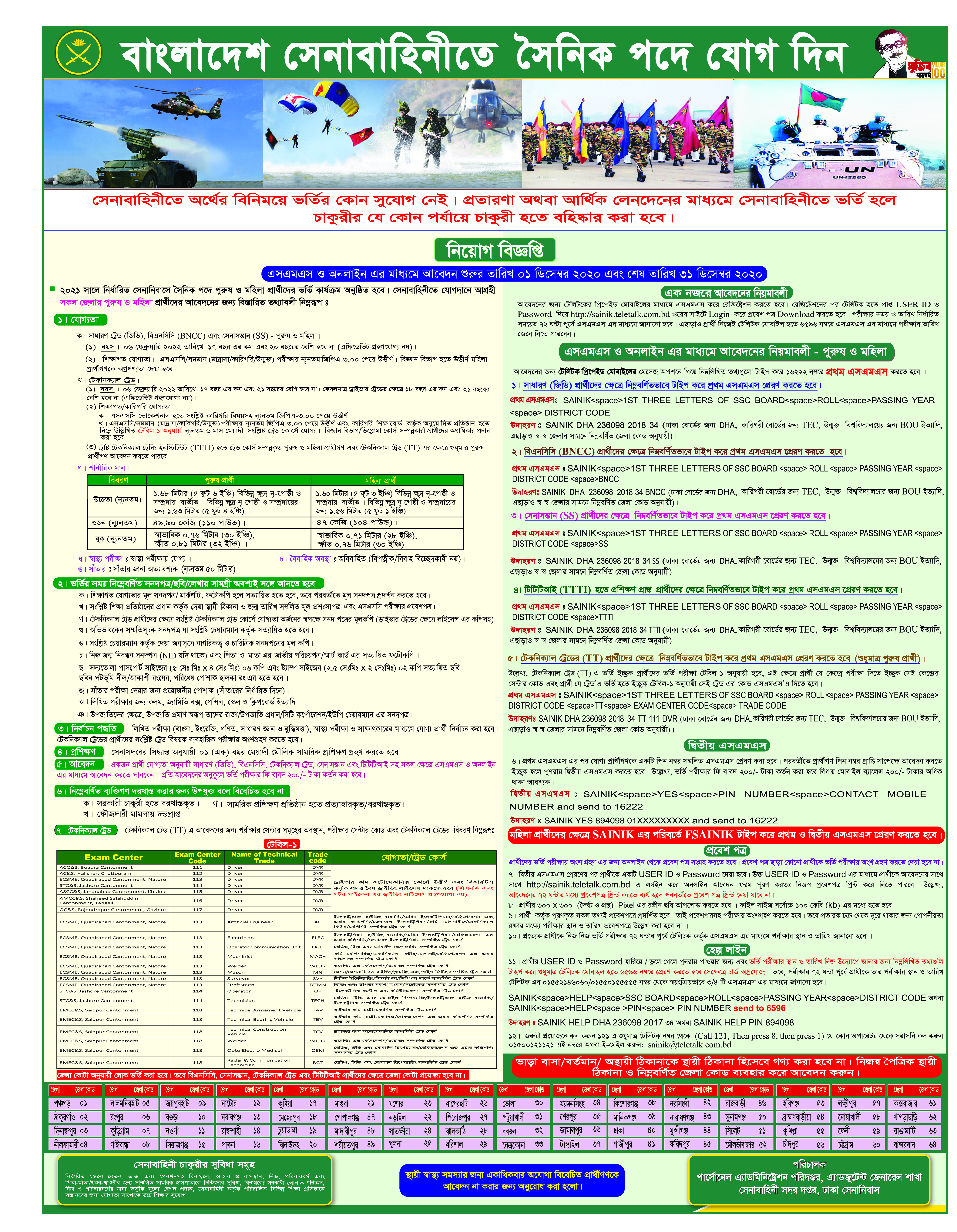 Bangladesh Army Sainik Recruitment Circular 2021