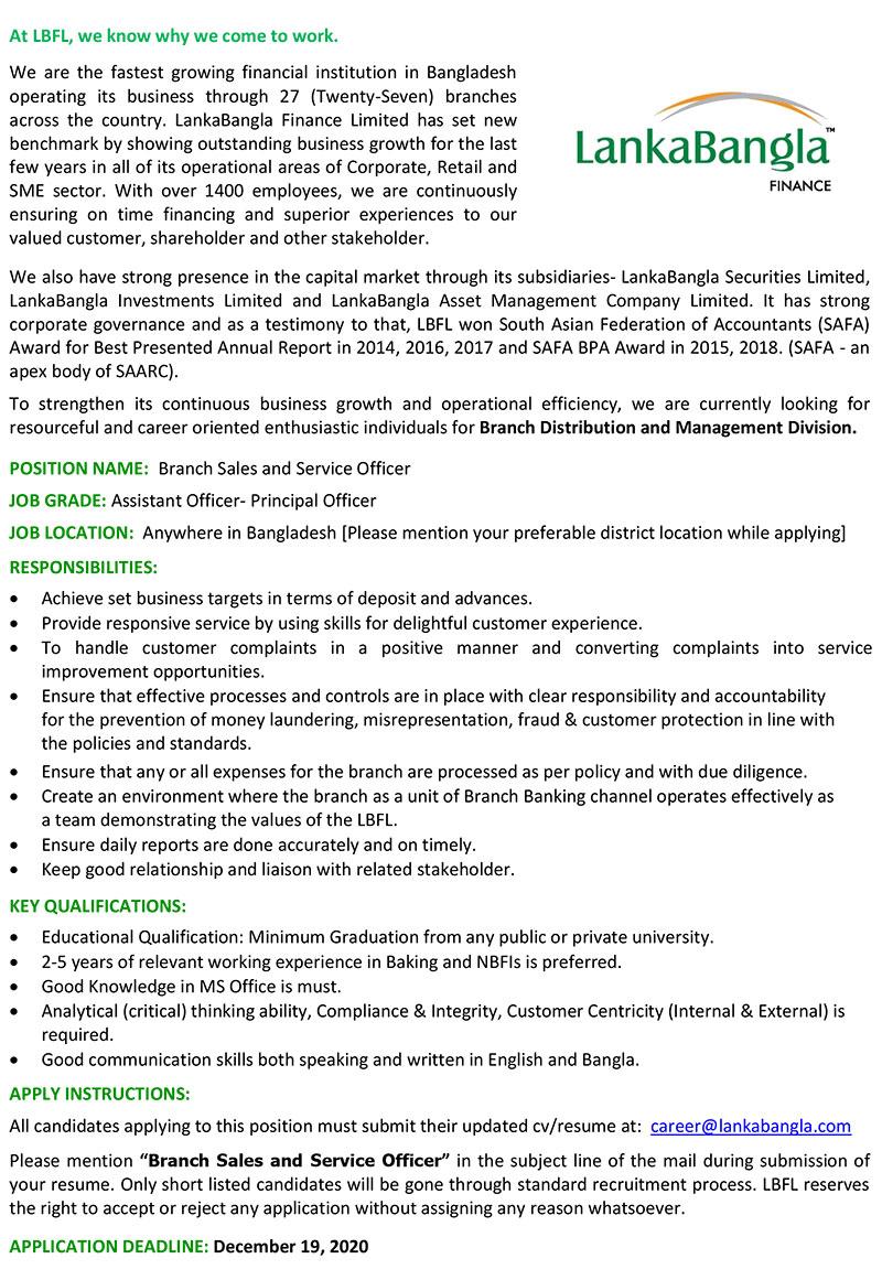 LankaBangla Finance Limited Job Circular